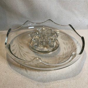 Vintage Etched Glass Console Bowl With Floral Frog
